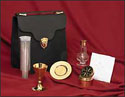 Brass Communion Set with Glass Cruet