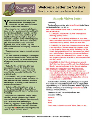 connected in christ visitor welcome letter template downloadable