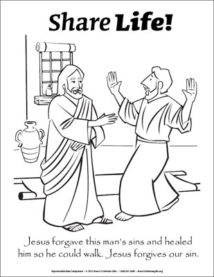 Share Life Coloring Page  Jesus Heals a Man Downloadable