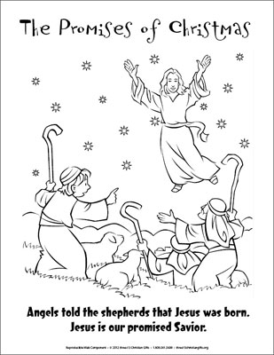 the promises of christmas coloring page  angels and shepherds, coloring pages