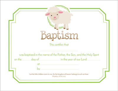 Child Baptism Certificate - Lamb (Pack Of 6)