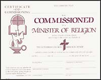 Certificate of Commissioning - Minister of Religion  (Pkg of 6)