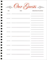 Guest Book Refill Sheets (Pkg of 25)