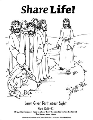 Share Life! Coloring Page - Jesus Gives a Blind Man Sight ...