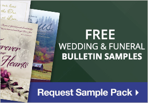 green background with 3 bulletins text reads, Free Wedding & Funeral Bulletin Samples. Request Sample Pack
